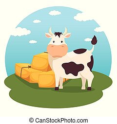 farming and agriculture hay bales icon