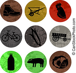 Farming and Agriculture Icons in color part 1