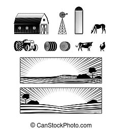 Farming and countryside set with farmland landscapes and various rural stuff and animals.