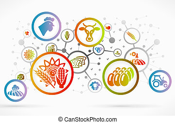 Bio farming and agriculture icon set vector abstract background