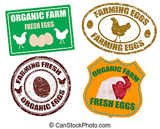Farming eggs labels and stamps - Set of farming eggs labels...