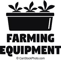 Farming equipment logo, simple style