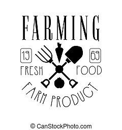 Farming fresh food farm product logo. Black and white retro...
