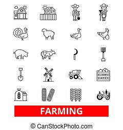Farming, garden, plant, tractor, harvest, village farm, farmers, agriculture line icons. Editable strokes. Flat design vector illustration symbol concept. Linear signs isolated on white background