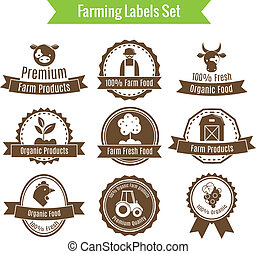 Farming harvesting and agriculture badges or labels set on white background isolated vector illustration