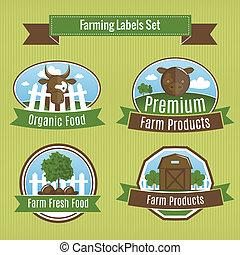 Farming harvesting and agriculture badges or labels set vector illustration
