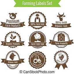 Farming harvesting and agriculture badges or labels set