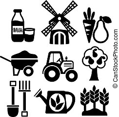 Farming harvesting and agriculture icons set of mill tractor wheelbarrow and spade isolated vector illustration