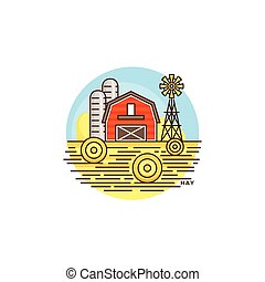 Farming hay line icon. Farm barn vector flat illustration with hay field isolated on white background. Farm logo template, element for agriculture business, linear design icon object.