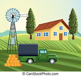 farming house windmill truck hay bales meadow trees