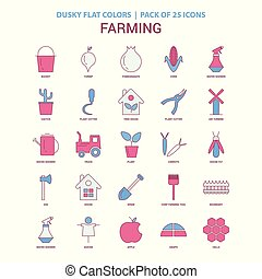 Farming icon Dusky Flat color - Vintage 25 Icon Pack