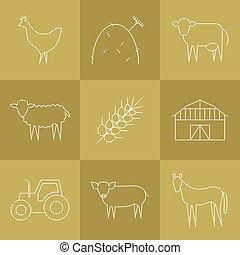 Farming icons set.