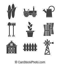 Farming icons set