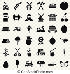 Farming icons set, simple style