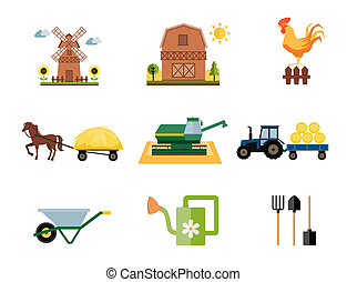 farming icons - vector colored farm and farming icons in...