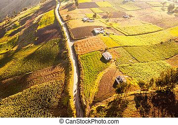 Farming In Ecuadorian Andes Aerial Shot