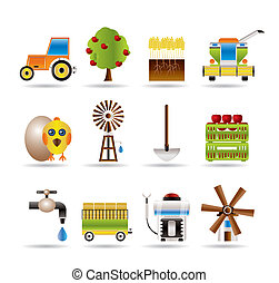 farming industry and farming tools icons - vector icon set