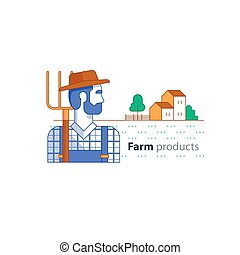 Farming industry, farmer with fork, farm house, country side...