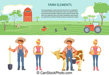 Farming infographic elements with field, farm, tractor. ...