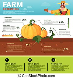 Farming Infographics Eco Friendly Organic Natural vegetable Growth Farm Production Banner With Copy Space