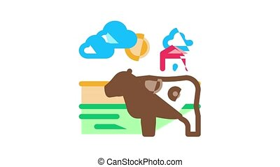 Farming Landscape Icon Animation Farming Field And Barn Construction, Mill And Scarecrow, Tractor And Cow Farm Animal