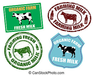 Farming milk labels and stamps - Set of farming milk labels ...