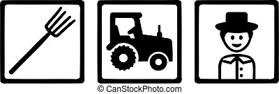 Farming Objects Farmer Tractor Pitchfork