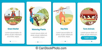 Farming onboarding mobile app screen vector template. Green market, watering plants, farm animals. Agriculture. Walkthrough website steps with flat characters. UX, UI, GUI smartphone cartoon interface