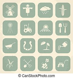 Farming retro icons. Vector illustration
