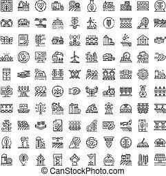 Farming robot icons set, outline style - Farming robot icons...