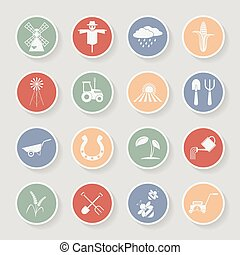 Farming round icons. Vector illustration