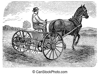 """RUSSIA - CIRCA 1897: engraving taken from an original print of """"Agricultural machinery. Atlas"""", creator K.K.Veber. Shows farmer with mowing machine. St. Petersburg, RUSSIA, circa 1897"""