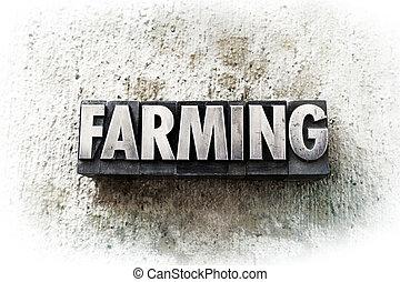 """The word """"FARMING"""" written in old vintage letterpress type."""