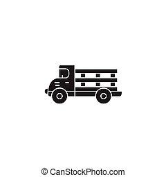 Farming truck black vector concept icon. Farming truck flat illustration, sign