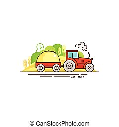 Farming vector flat illustration in linear design. The tractor with cut hay and farm landscape isolated on white background. Eco farming icon, logo flat vector concept stock vector