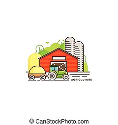 Farming vector flat illustration in linear design. The farm house and tractor with cut hay and farm landscape isolated on white background. Eco farming icon, logo flat vector concept stock vector
