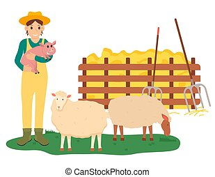 Farming Woman Holding Pig by Sheep Farm Vector