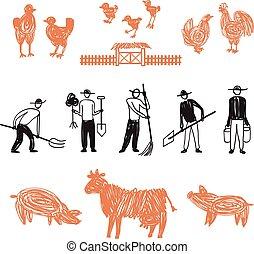 Farming workers, men working on farm - Hand drawn farm work,...