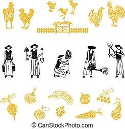 Farming workers, women working on farm - Hand drawn farm...