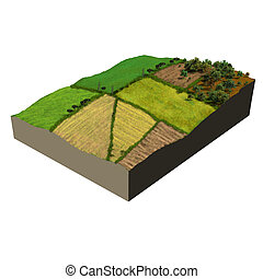 farmland 3d model ecosystem, digital illustration