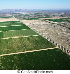 farmland, aerial.