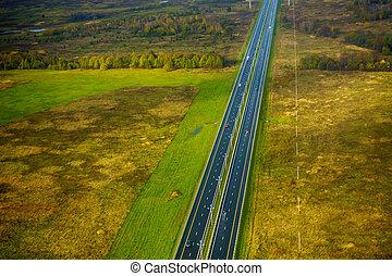 Farmland aerial view at autumn