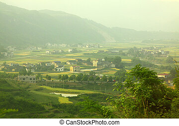Farmland and houses in China