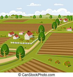 Farmland - Background illustration of a farmer landscape