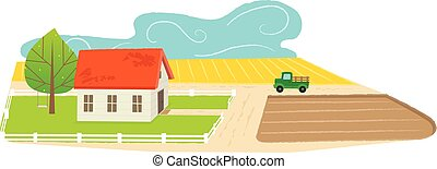 Farmland - Cute cartoon farmhouse with a farmland view....