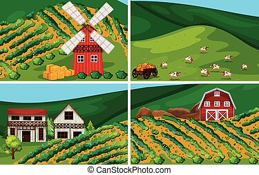 Farmland - farmland with windmill and barn