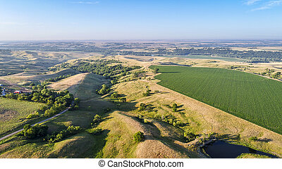farmland in Nebraska Sandhills - aerial view