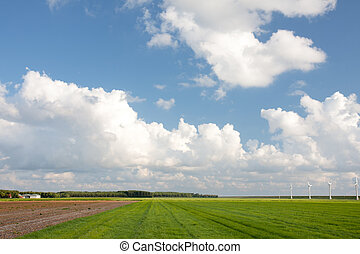Farmland in the Netherlands with a typical Dutch cloudscape