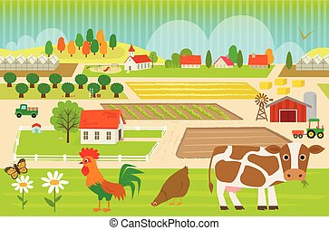Farmland Pattern - Colorful, farmland pattern with cow, hen...