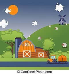 Farmland summer landscape, vector illustration. Peaceful countryside scene, farm barn, tractor, windmill and grazing sheep on hill. Flat style cartoon rural landscape